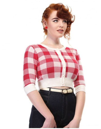 Lucy COLLECTIF Retro 1950s Gingham Cardigan RED