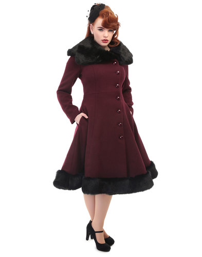 Collectif retro vintage 50s Arlene fur trim coat