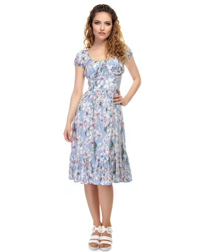 collectif vintage carmen watercolour floral dress