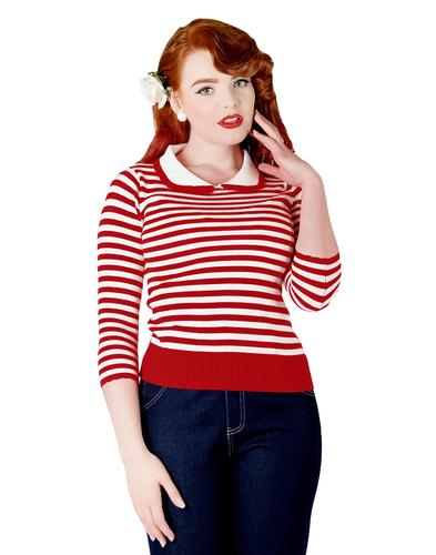 COLLECTIF RETRO VINTAGE 60s STRIPED JUMPER KNIT