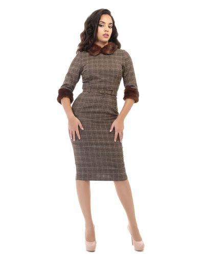 Collectif Retro 50s Fur Trim Pencil Dress Christia