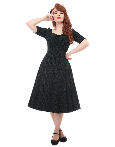 Collectif retro vintage dolores doll dress green