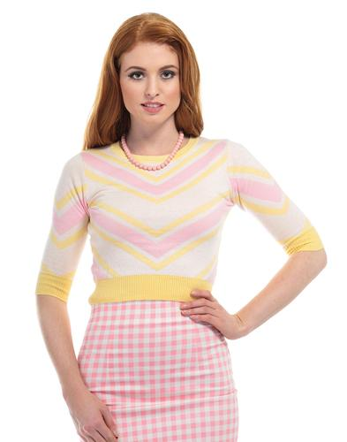COLLECTIF RETRO VINTAGE 50s KNITTED CHEVRON JUMPER