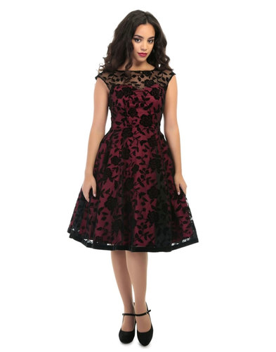 Collectif Retro Vintage 50s Swing Brocade Dress