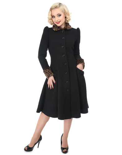 COLLECTIF Gina Retro 50s Leopard Trim Floral Coat