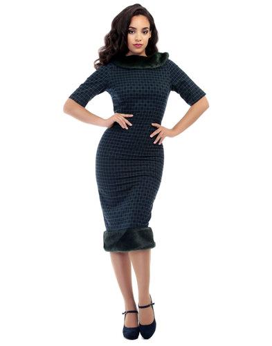 Collectif Retro 50s Fur Trim Pencil Dress Juliette
