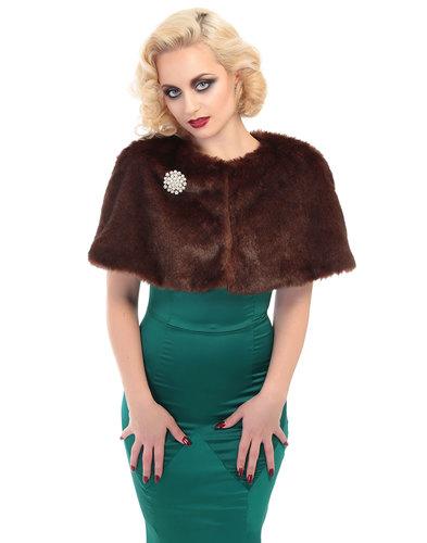 Collectif Retro 50s Vintage faux fur cap Brown