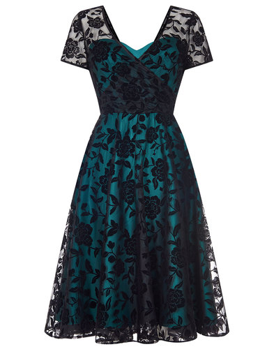 Collectif retro vintage 50s velvet rose lace dress