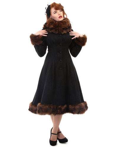 Pearl COLLECTIF Vintage 1950s Faux Fur Coat BLACK