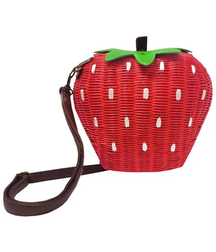 COLLECTIF Retro Vintage 50s Strawberry Bamboo Bag