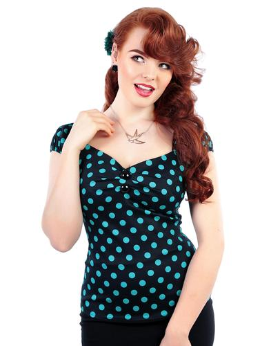 COLLECTIF RETRO VINTAGE 50s POLKA DOT TOP