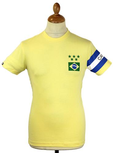 Brasil Capitao COPA Retro Indie Football T-Shirt