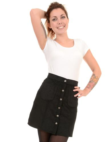 RETRO SIXTIES MOD SNAP FRONT CORD MINI SKIRT BLACK