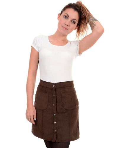 RETRO SIXTIES MOD SNAP FRONT CORD MINI SKIRT BROWN