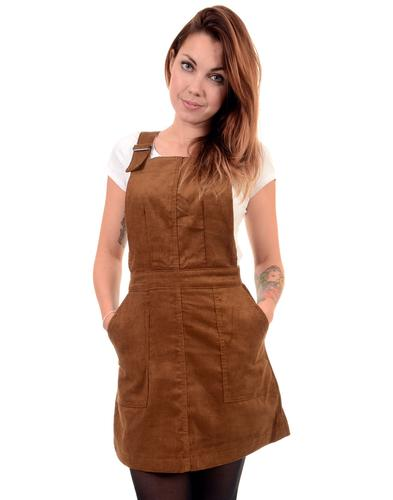 RETRO 1960s MOD CORD PINAFORE STRAP DRESS TOBACCO