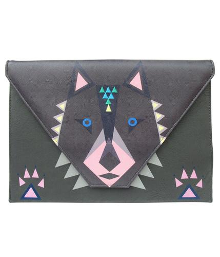 RETRO DAKOTA WOLF CLUTCH HANDBAG BAG