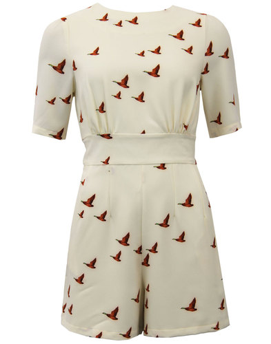 Delphine DARLING Retro 1960s Flying Ducks Playsuit