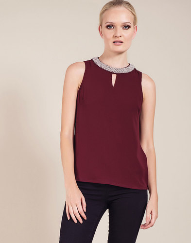 Darling Irene Retro Vintage Jewel Collar Top Wine
