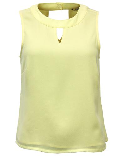 DARLING RETRO VINTAGE KEY HOLE TOP LEMON