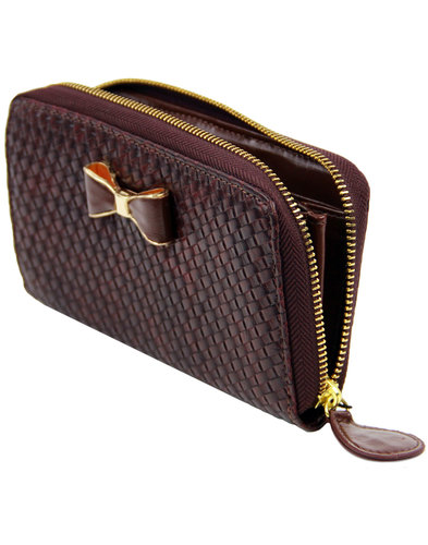 darling prue retro 60s basket weave bow clutch bag