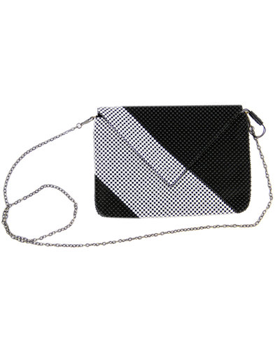 darling sloan retro 60s diagonal stripe clutch bag