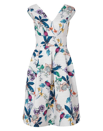 Darling Retro 60s Sixties Flower Dress Grey