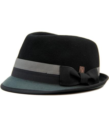 DASMARCA ALASTAIR RETRO MOD WOOL FELT TRILBY BLACK