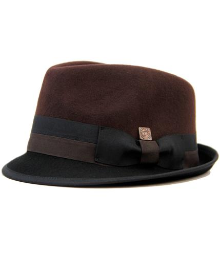 DASMARCA ALASTAIR RETRO MOD WOOL FELT TRILBY BROWN