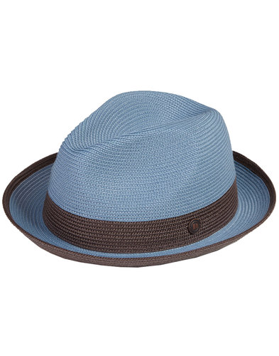 Florence DASMARCA Retro Mod Weave Trilby Hat SKY