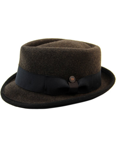 dasmarca retro 60s mod wool felt trilby hat brown