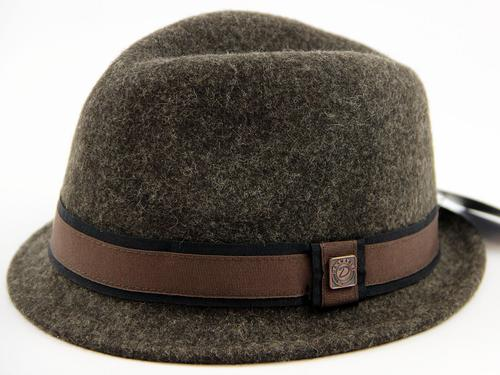 DASMARCA RETRO FELT TRILBY HAT FEDORA BROWN