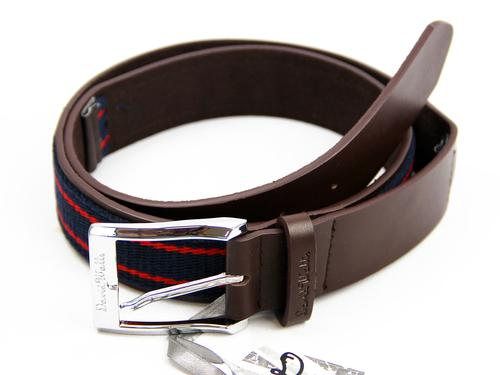 DAVID WATTS RETRO MOD LEATHER BELT NAVY RED