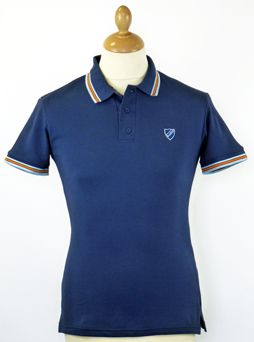DAVID WATTS MOD PIQUE POLO NAVY RETRO POLO