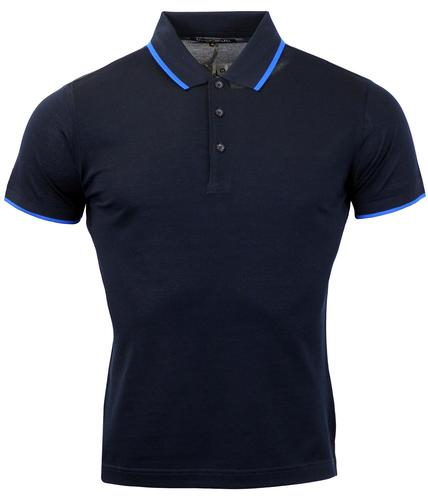 DAVID WATTS LOGAN RETRO MOD TIPPED POLO SHIRT NAVY
