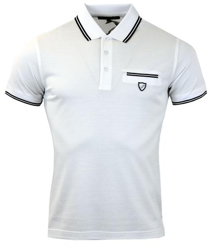 DAVID WATTS DELMAR RETRO 60s MOD TIPPED POLO SHIRT