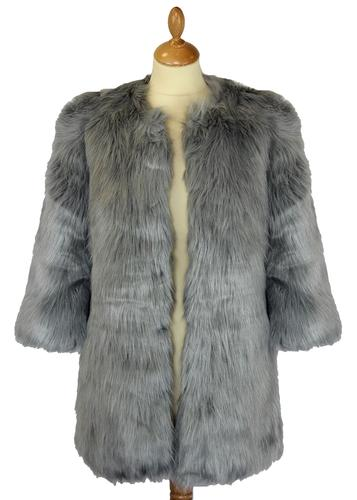 DESIGNER DUCHESS RETRO VINTAGE FAUX FUR COAT
