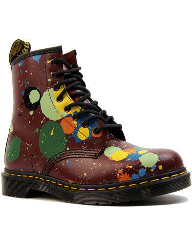 dr martens 1460 paint splatter womens cherry boots
