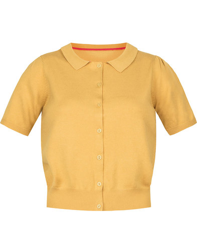 Nina EMILY AND FIN Retro Knit Polo Cardigan YELLOW