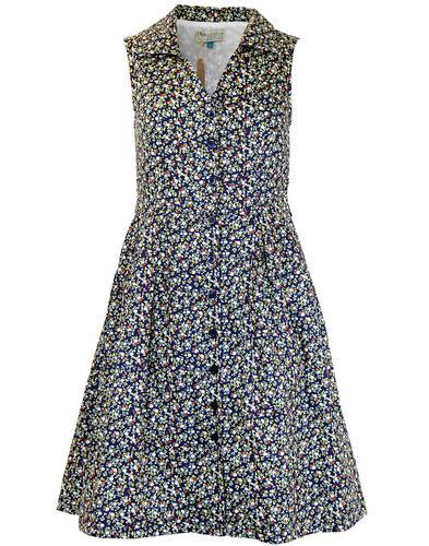 EUCALYPTUS RETRO 1950s VINTAGE FLORAL SHIRT DRESS