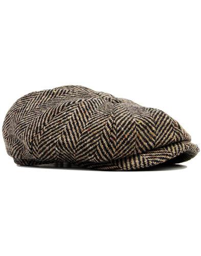 failsworth retro mod herringbone gatsby cap brown