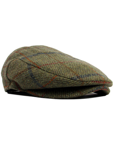 failsworth waterproof tweed check flat cap green