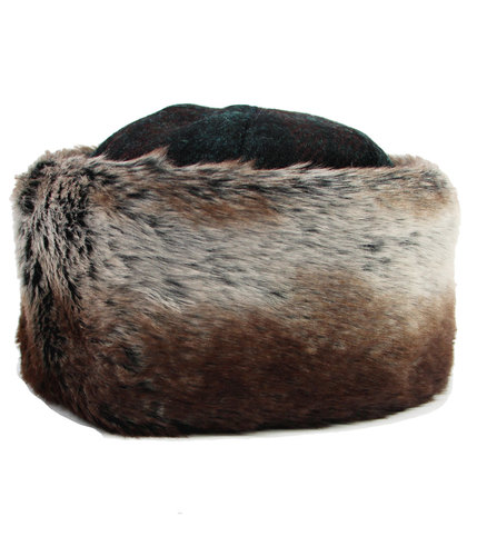 FAILSWORTH Harris Tweed Retro Fur Trim Cossack Hat