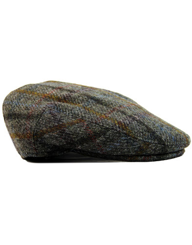 failsworth retro 60s mod tweed check flat cap grey