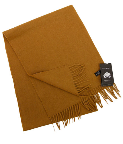 FAILSWORTH Retro Lambswool Tassel Scarf CAMEL