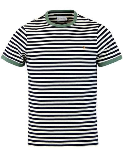 farah ally retro mod ss stripe crew tshirt navy