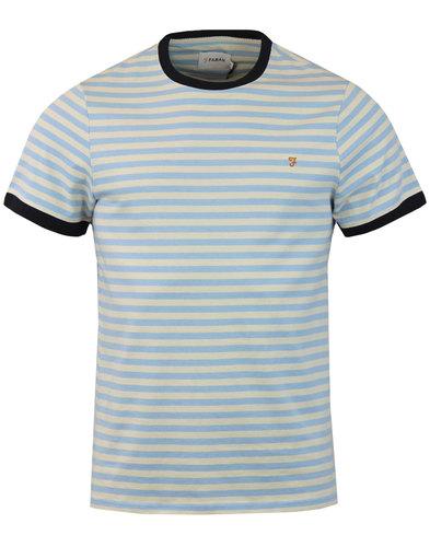 farah ally retro mod ss stripe crew tshirt blue