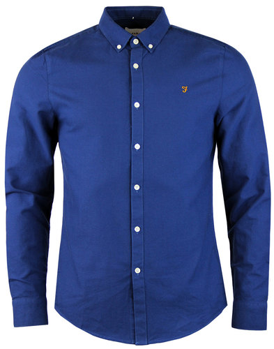 farah brewer retro 60s mod ls oxford shirt regatta