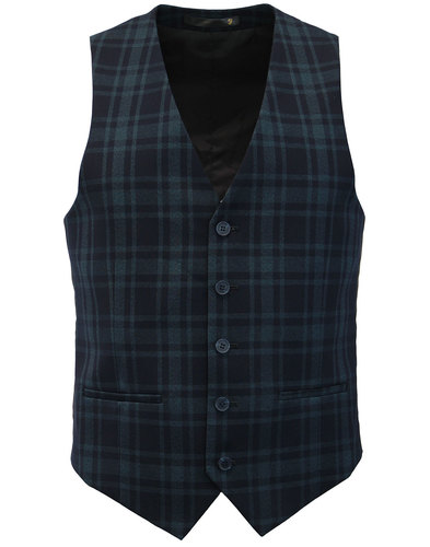 Ashworth FARAH 60s Mod Twill Check Slim Waistcoat