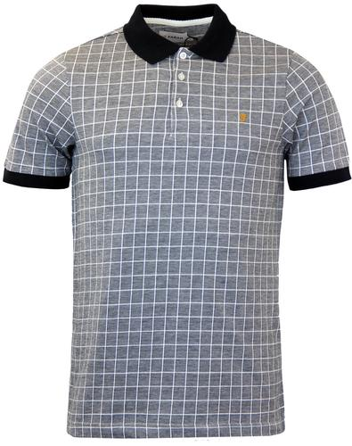 FARAH RETRO 60s MOD GRID CHECK MARL POLO SHIRT