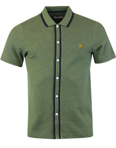 Homerton FARAH Retro Mod Tipped Pique Shirt PALM